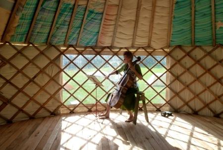Elizabeth cello in the yurt